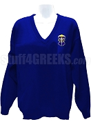 Alpha Omega Epsilon V-Neck Sweater with Crest, Royal Blue