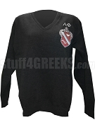 Alpha Phi V-Neck Sweater with Crest, Black