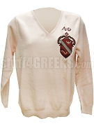 Alpha Phi V-Neck Sweater with Crest, Pink