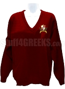 Alpha Phi Gamma V-Neck Sweater with Crest, Ruby Red
