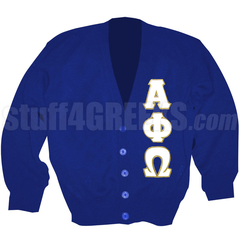 Alpha Phi Omega Cardigan with Greek Letters Royal Blue