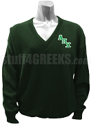 Alpha Pi Chi V-Neck Sweater with Logo Letters, Forest Green