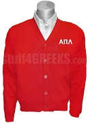 Alpha Pi Lambda Greek Letters Cardigan, Red