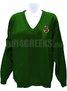 Alpha Rho Lambda V-Neck Sweater with Crest, Forest Green