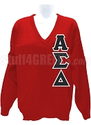 Alpha Sigma Delta V-Neck Sweater with Greek Letters, Red