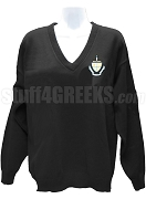 Alpha Sigma Tau V-Neck Sweater with Crest, Black