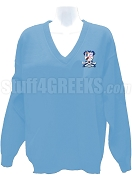 Alpha Sigma Theta V-Neck Sweater with Crest, Baby Blue
