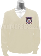 Alpha Sigma Upsilon V-Neck Sweater with Crest, Cream