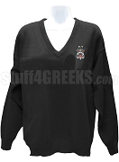Alpha Tau Mu V-Neck Sweater with Crest, Black