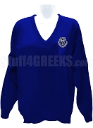 Alpha Zeta Omega V-Neck Sweater with Crest, Royal Blue