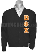 Beta Psi Chi Cardigan with Letters, Black