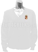 Beta Sigma Zeta V-Neck Sweater with Crest, White