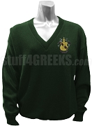 Chi Alpha Delta V-Neck Sweater with Crest, Forest Green