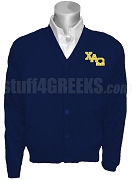 Chi Alpha Omega Cardigan with Logo Letters, Navy Blue