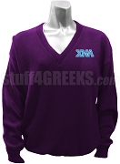 Chi Nu Alpha V-Neck Sweater with Greek Letters, Purple