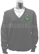 Chi Omega Psi V-Neck Sweater with Crest, Gray