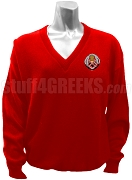 Chi Phi Sigma Crest V-Neck Sweater, Red