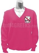 Chi Rho Gamma V-Neck Sweater with Crest, Fuchsia