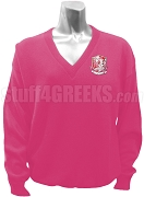 Chi Sigma Alpha V-Neck Sweater with Crest, Pink