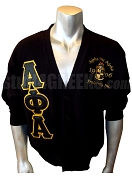Alpha Phi Alpha Greek Letter Cardigan with Embellished Crest, Black