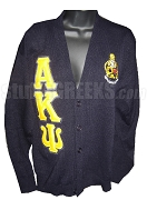 Alpha Kappa Psi Crest Cardigan Sweater with Greek Letters, Navy
