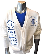 Phi Beta Sigma Greek Letter Cardigan with Embellished Crest, White