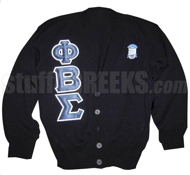 Phi Beta Sigma Greek Letter Cardigan With Crest Black