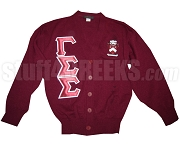 Gamma Sigma Sigma Greek Letter Cardigan with Crest, Crimson