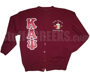 Kappa Alpha Psi Greek Letter Cardigan with Embellished Crest, Crimson