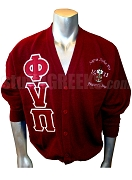 Phi Nu Pi Greek Letter Cardigan with Embellished Crest, Crimson