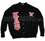 Kappa Alpha Psi Greek Letter Cardigan with Bunny Inside Diamond and Canes, Black