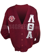 Lambda Theta Alpha Greek Letter Cardigan with Crest, Crimson
