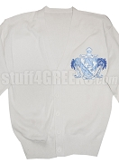 Lambda Sigma Upsilon Cardigan with Crest, White