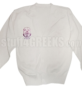 Sigma Lambda Beta Cardigan with Crest, White