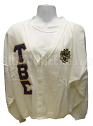 Tau Beta Sigma Greek Letter Cardigan with Crest, White