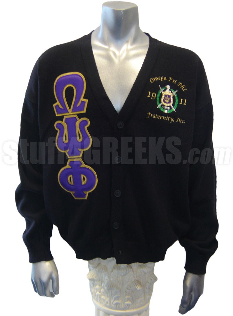 Omega Psi Phi Greek Letter Cardigan With Crest And Founding Year Black