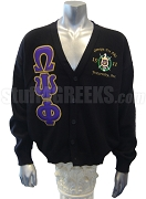 Omega Psi Phi Greek Letter Cardigan with Crest and Founding Year, Black