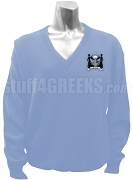 Delta Lambda Chi V-Neck Sweater with Crest, Baby Blue