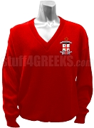 Delta Phi Delta Crest V-Neck Sweater, Red