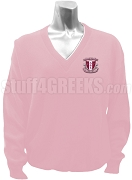 Delta Phi Kappa V-Neck Sweater with Crest, Pink