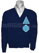 Delta Phi Cardigan with Letters, Navy Blue