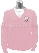 Delta Phi Sigma V-Neck Sweater with Crest, Pink