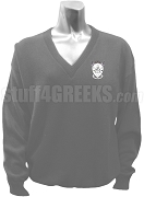 Delta Psi Alpha Ladies V-Neck Sweater with Crest, Gray