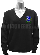 Delta Sigma Chi V-Neck Sweater with Crest, Black