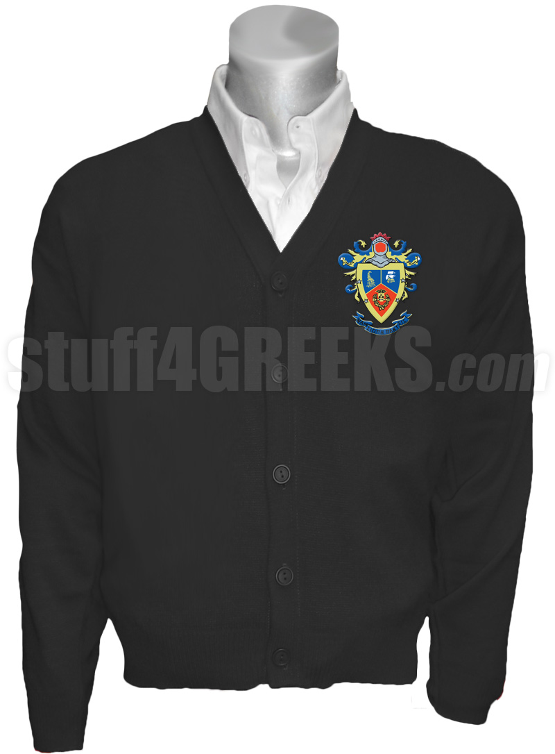Delta Sigma Pi Crest Cardigan Black
