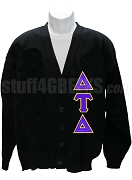 Delta Tau Delta Cardigan with Greek Letter, Black