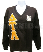 Delta Tau Lambda V-Neck Sweater with Embellished Crescent Moon, Brown