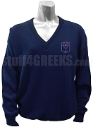 Delta Tau Sigma V-Neck Sweater with Crest, Navy Blue