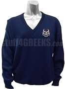 Delta Xi Phi V-Neck Sweater with Crest, Navy Blue