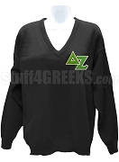 Delta Zeta V-Neck Sweater with Greek Letters, Black
